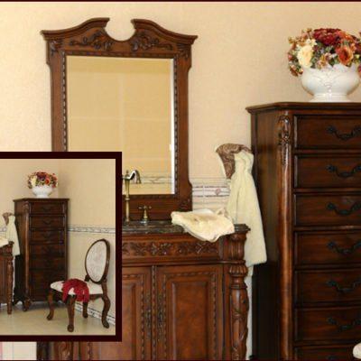 K80-SM – Komoda łazienkowa łącznie z umywalką, kranem oraz lustrem